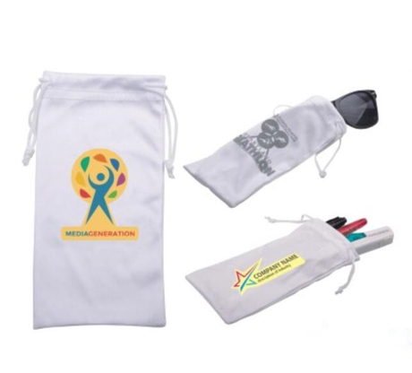 Microfiber collection drawstring bag with logo printed for your promotion